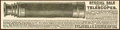 1890 Kirtland Bros. Ad For A Sale Of Fine Telescopes Original Paper Ephemera Authentic Vintage Print Magazine Ad / Article