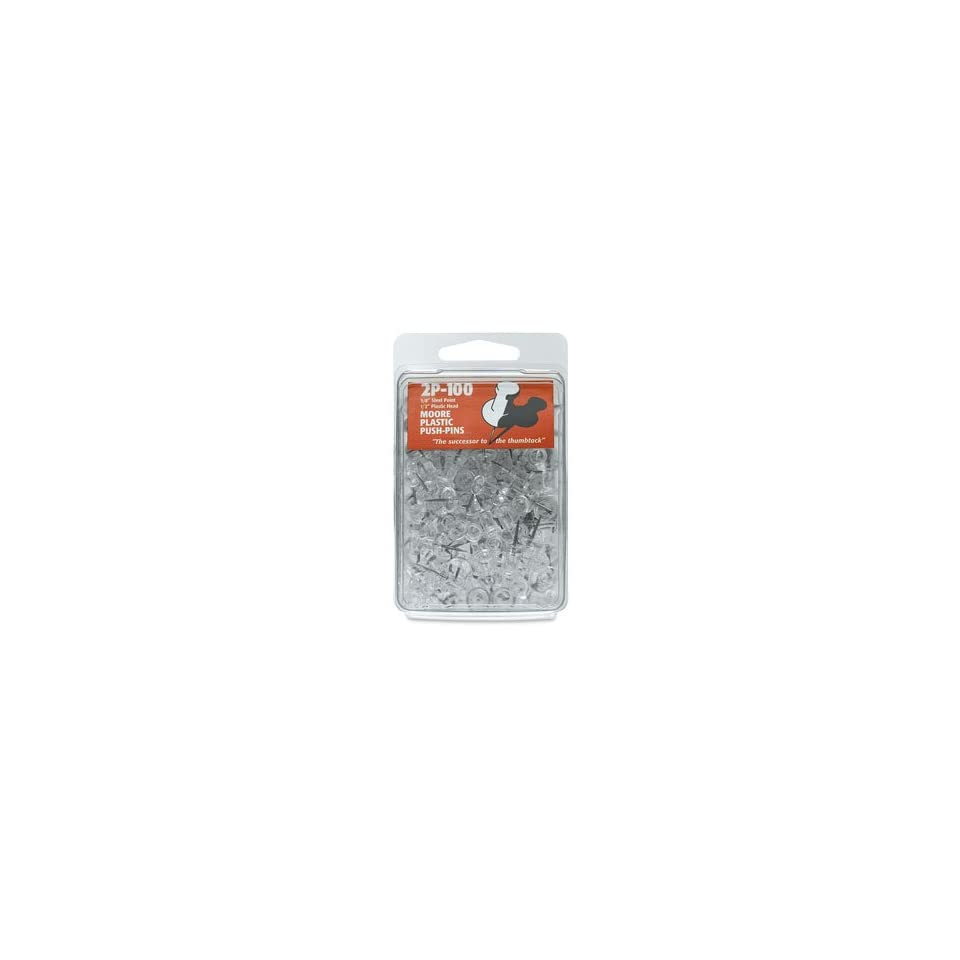 Moore Push Pins   Clear, 3/8 (10 mm) Point, Push Pins, Pkg of 100, Plastic