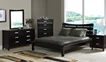Hot Sale 4pc Contemporary Cappuccino Finish Queen Size Platform Bed Bedroom Set