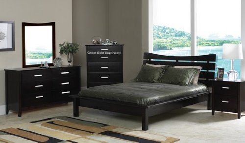Contemporary Cappuccino Finish Queen Size Platform Bed Bedroom Set