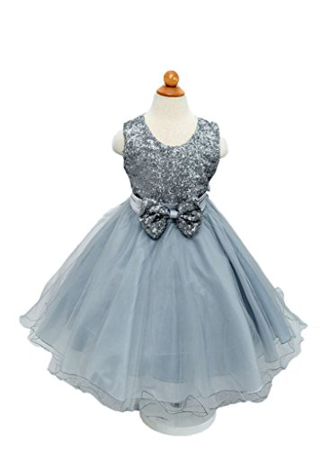 I'MQueen Long Wedding Pageant Long Grey Flower Girl's Dress Sequins Tulle 2016 (Lil Girls Prom Dresses compare prices)