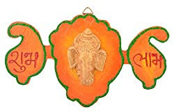 999Store handmade multicolour wooden shubh labh diwali door hanging with ganesh