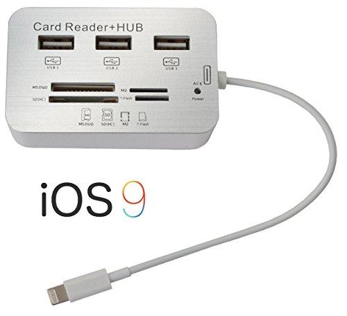 Eximtrade 7in1 Macchina Fotografica Telecamera Connessione Esterno Lettore di Schede HUB con Ligtning Connettore Cavo per Apple iPad