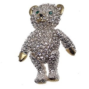 CUDDLES Silver Plated Crystal Bear Brooch