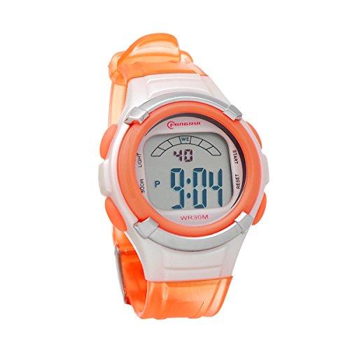 8Years- 1 Stueck Mode Kinder Digital Uhr Armbanduhr Stoppuhr Wasserdicht Orange