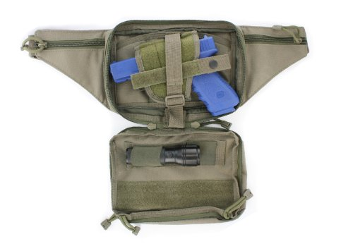 Olive Drab Green Tactical Pistol Concealment Fanny Pack CCW Concealed Carry MOLLE Gun Pouch with Holster from Home