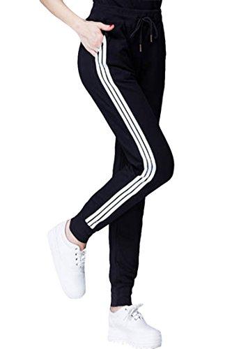 COCOLEGGINGS Womens Elastic Waist Cuffed Jogger Sweatpants R
