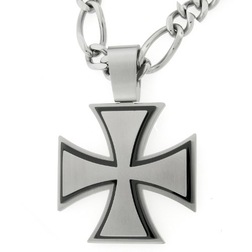 Men's Stainless Steel Extra Large 3 Layer Cross with Black Ionic Plating Pendant Necklace
