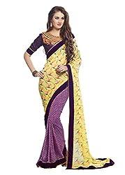 RadadiyaTRD Women's Georgette Heavy Printed Saree (Velentine_Yellow)