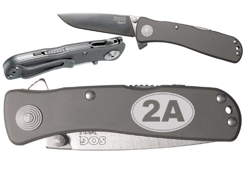 2A 2Nd Amendment Oval Custom Engraved Sog Twitch Ii Twi-8 Assisted Folding Pocket Knife By Ndz Performance