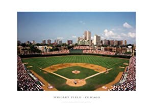Wrigley Field, Chicago Art Poster Print by Ira Rosen, 19x13 Sports Art Poster Print by Ira Rosen, 19x13
