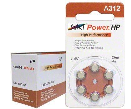 StartPower - 60 piles auditives , Typ A312, 1.4V, 160mAh, PR41, High Performance, Extra High Power
