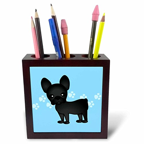 3dRose ph_25320_1 Cute Black Brindle French Bulldog Blue with Pawprints-Tile Pen Holder, 5-Inch (French Bulldog Pen compare prices)