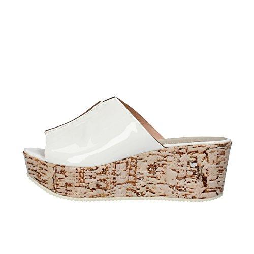 SERGIO CIMADAMORE sandali donna 36 EU bianco vernice sughero AF495
