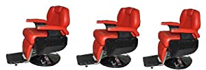 Three All Purpose Hydraulic Recline Barber Chairs Salon Beauty Spa Shampoo Red