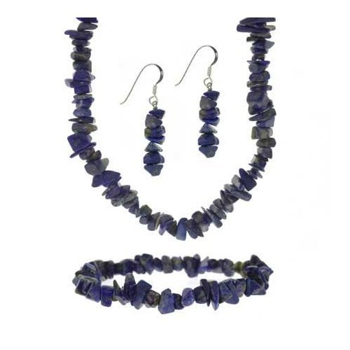 Sterling Silver Denim Lapis Stone Chip Necklace Set