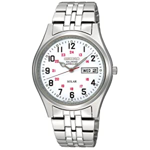 Click to buy Seiko Watches for Men: SNE045 Solar White Dial Watch from Amazon!