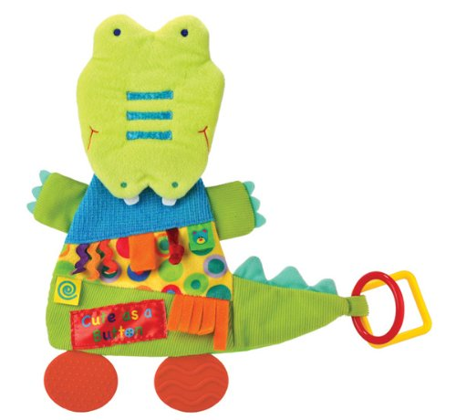 Kids Preferred 93017 Label Loveys Teether Blanket, Cute as a Button Alligator