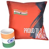 Republic Day Digital Print Satin Cushion Cover And Ceramic Mug Combo - Multicolor (MC-Proud-Indian-Flag)