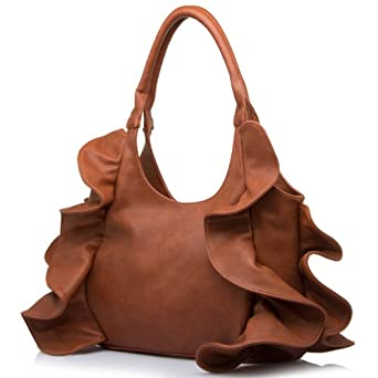 MG Collection Brown Tremendous Flirty Fun Ruffle Hobo Handbag