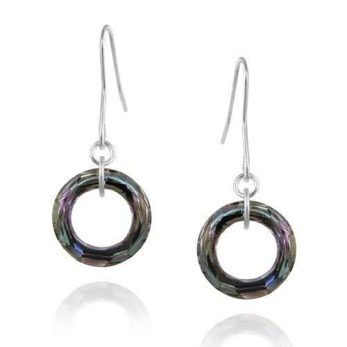 In argento Sterling chiaro,-Orecchini a cerchio con cristalli Swarovski Elements