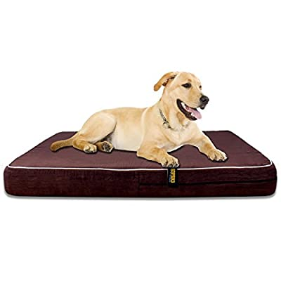 Kopeks - Orthopedic Memory Foam Dog Bed with Removable Cover and Included Removable Waterproof Inner Protector - Dark Chocolate Color