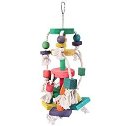 Petroad Pet Large Bird Pet Toy Knots and Blocks Chewing Gnawing Colorful Wood for Amazon Parrots Cockatoos Conure Parakeet
