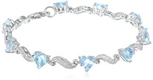 "Sterling Silver, Gemstone, and Diamond Bracelet (0.02 cttw, H-I Color, I2-I3 Clarity), 7"" by Amazon Curated Collection"