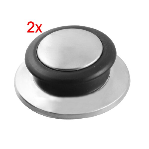 SODIAL(R) 2 Pcs Kitchenware Black Silver Tone Tempered Glass Pot Pan Lid Knob