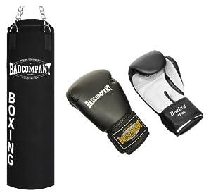 Profi Box-Set inkl. Canvas Boxsack 100 x 30cm gefüllt, Vierpunkt-Stahlkette und PU Boxhandschuhe
