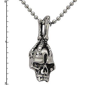 Stainless Steel Skull with Claw Pendant on a 22 Inch Bead Chain