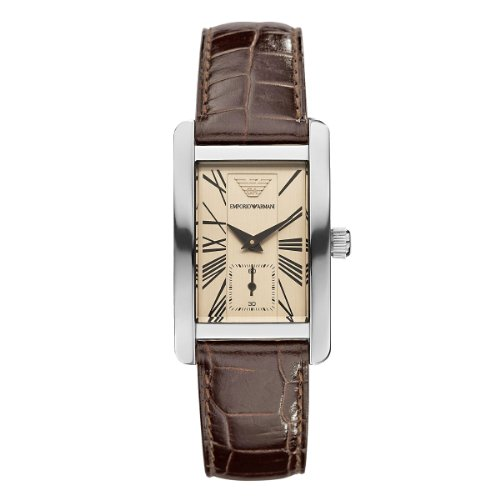 Emporio Armani Classic Collection Women's Quartz Watch with Brown Dial Analogue Display and Brown Leather Strap AR0155
