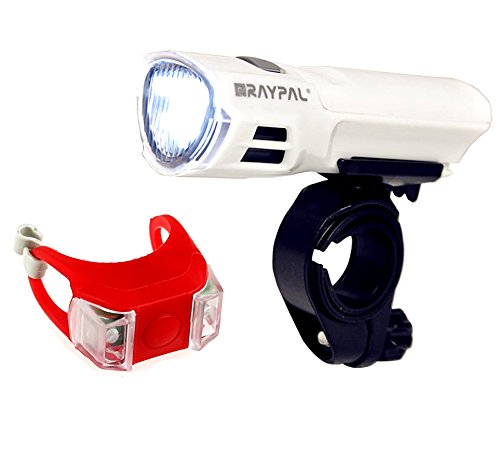 Benran Bicycle Light Set Super Bright 5 LED Headlight, waterproof Taillight, Quick-Release (White)