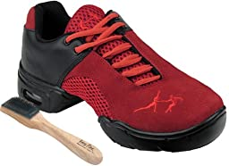 Very Fine Men\'s Women\'s Salsa Ballroom Latin Zumba Hip Hop Dance Sneakers Style VFMatrix Bundle with Dance Shoe Wire Brush, Red 11 US (Women 10.5/Men 9)