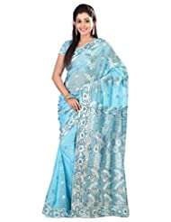 Designer Remarkable Blue Colored Embroidered Faux Georgette Saree By Triveni