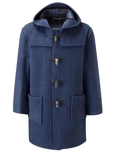 Mens Long Duffle Coat -- Indigo