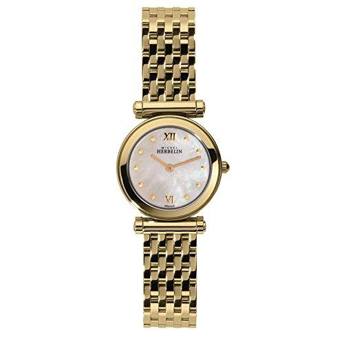 michel-herbelin-womens-antares-25mm-gold-plated-case-quartz-watch-17155-bp19