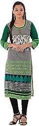 Kaashvi Creations Women's Cotton Straight Kurta (99901000000105-L, Green, Large)