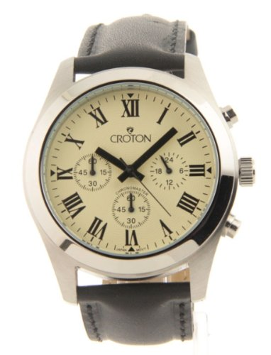 Mens Croton Chronomaster Black Leather 3 Eye Light Yellow Sharp Dial Watch Cc311306bspa