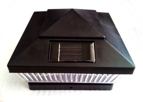 6 X 6 Black Pvc Vinyl Fence Post Cap Solar Light 5 White Led