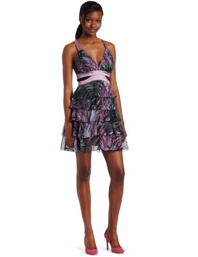 XOXO Juniors Printed Cross Back Dress, Purple/ Green, 1/2