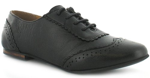 Womens/Ladies Black Leather Lace Up Jazz Style