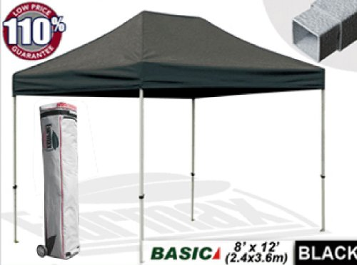 Eurmax Basic 8 X 12 Ez Pop Up Canopy Tent Entry Commercial Level With Wheeled Storage Bag (Black) front-933281
