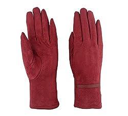 Outray Women's Belt Winter Warm Keepers Fleece Gloves 4427C5 Red