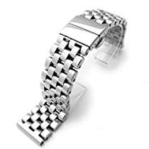 24mm Super Engineer Solid Stainless Steel Deployant Watch Bracelet Push Button Straight Lug P