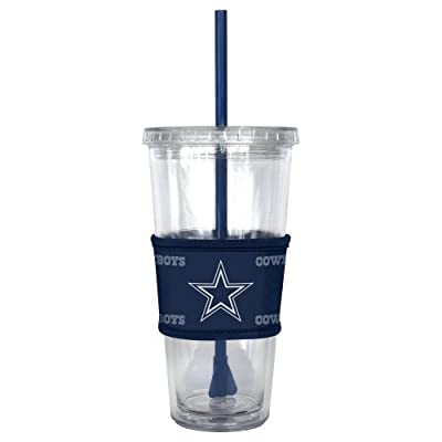 NFL Dallas Cowboys Tumbler with Neoprene Sleeve and Straw, 22-Ounce