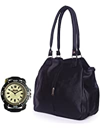 Arc HnH Women HandBag + Watch Combo - Contemporary Black Handbag + Sports Black Watch