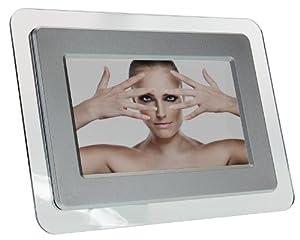"""KitVision  Cadre Photo Numerique 7"""" (17,8 cm) avec Lecteur de Carte SD,XD,MMC,MS - Argent - Livré Avec Prise Française"""