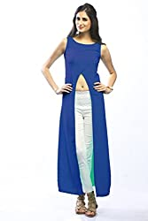 BRIGHT BLUE & SEA GREEN FRONT OPEN LONG TOP