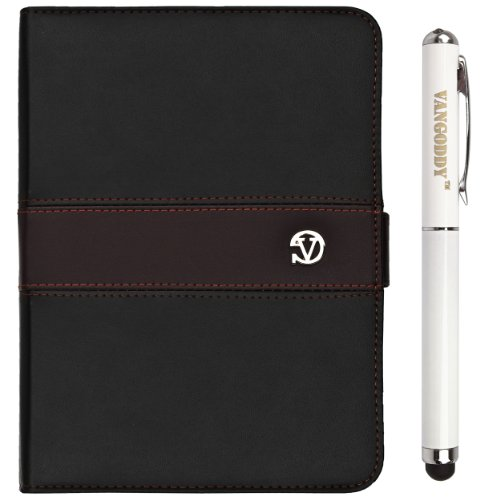 """Black & Brown Vg Dauphine Edition Faux Leather Portfolio Case Cover For Hyundai X700 Hold X 7"""" Android 4.1.1 Rk3066 Dual-Core 1.6Ghz Tablet Pc + Vg Executive Stylus Pen With Integrated Laser Pointer And Led Reading Light"""